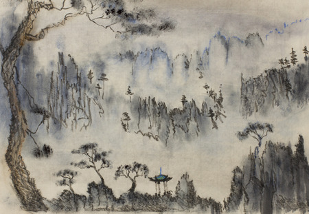 Chinese painting mountains and pine photo