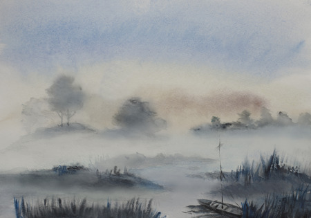 blauwe mist bomen en water