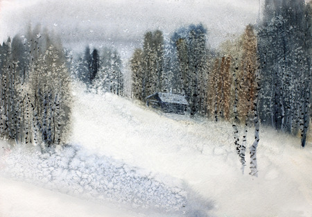 snowfall: snowfall in the winter forest