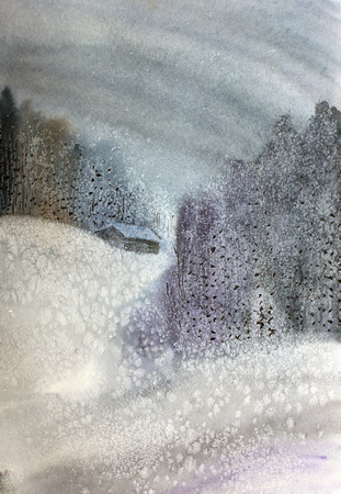 Snowy night in the winter forest