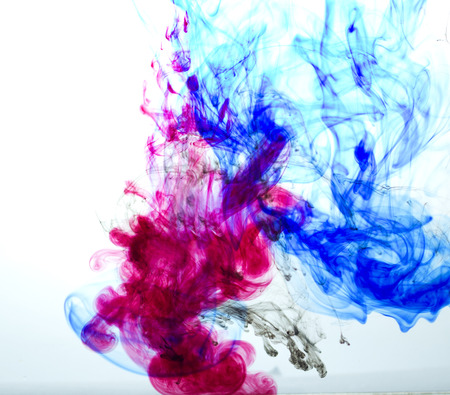 agleam: colored ink dissolved in water