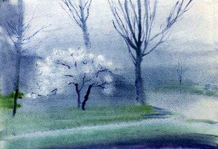 flowering: twilight trees and flowering apple tree Stock Photo