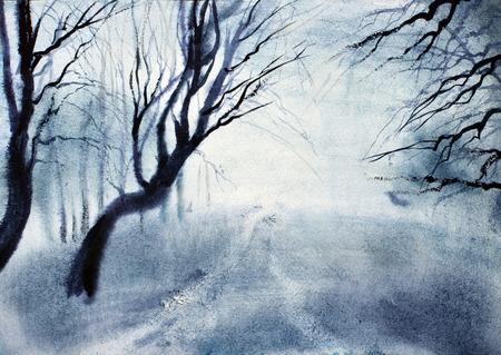 mist: dark mystical mist and twilight Stock Photo