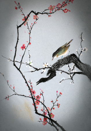 Small bird on branch of plum Banque d'images