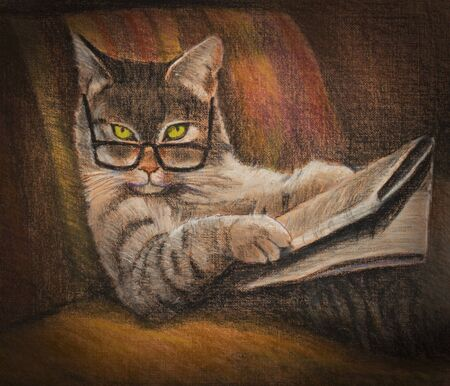 cartoon reading: cat with glasses reading a newspaper