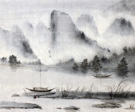 asian art: majestic mountains and pine water