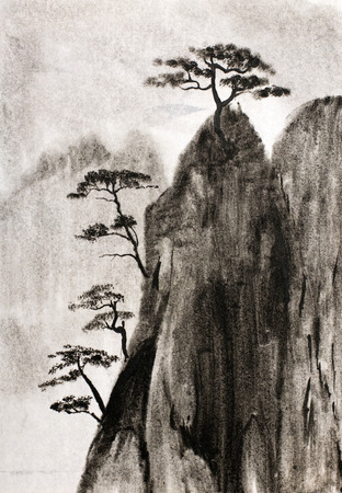 high cliffs clouds and pine