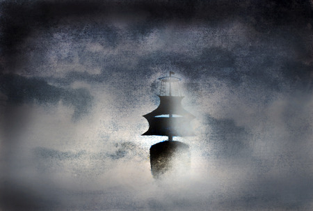 ship wreck: black ship in the fog