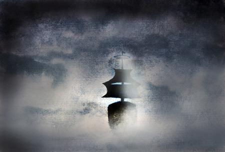 zwarte schip in de mist