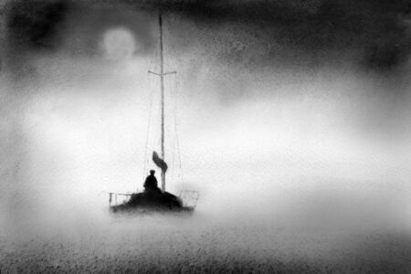 fishing boats: Yacht in the night mist
