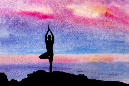 yogi: Yogi in a pose at sunset Vrikshasana Stock Photo