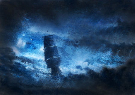 夜の嵐の中遭難ヨット 写真素材