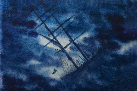 doomed: sailboat in distress in night storm Stock Photo