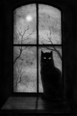 城のウィンドウ上に黒猫
