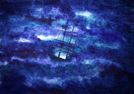 帆船と夜の嵐