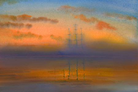 three-masted sailing ship in the fog