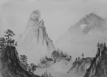 Montagnes de peinture chinoise et de pins Banque d'images - 45340431