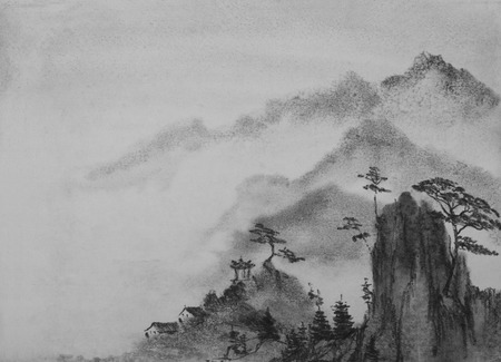 Chinese painting mountain pines and clouds Stock fotó - 45340518