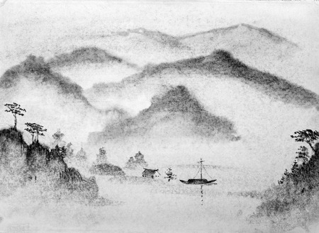 Chinese painting mountains and water mist Stok Fotoğraf - 45340524