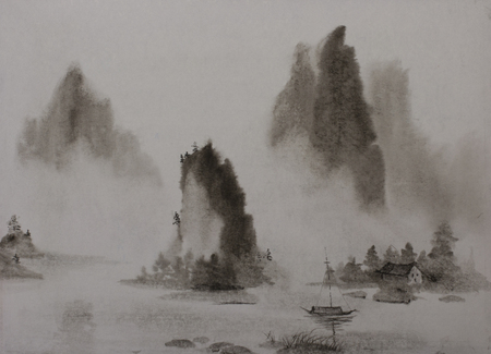 Chinese painting mountains and water mist boat Imagens