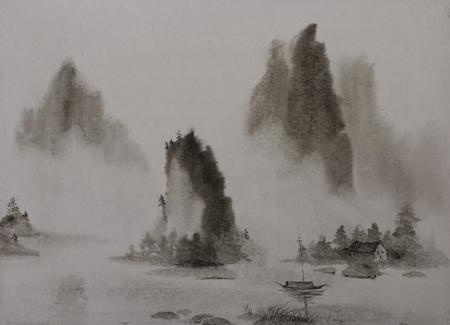 Chinese schilderkunst bergen en water mist de boot Stockfoto