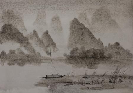 Chinese schilderkunst River Mountain en junk