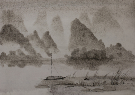 Chinese painting Mountain River and junk Banque d'images
