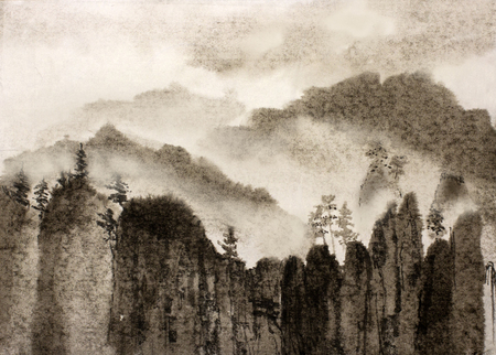Chinese painting gloomy rocks and thick fog Reklamní fotografie - 45358591
