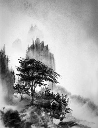 パイン マウンテン ハウスと霧 写真素材