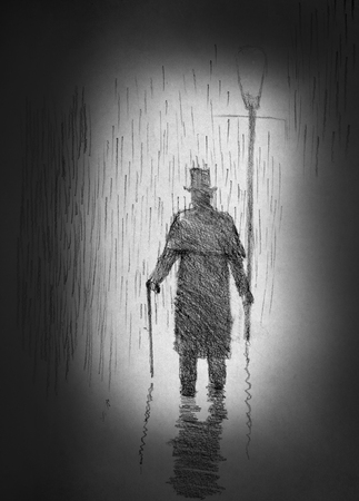 englishman: lonely man in the cylinder in the rain Stock Photo