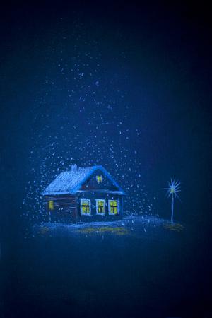 night: white snow on Christmas night