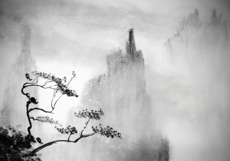 fog white: bleak mountains and thick fog Stock Photo
