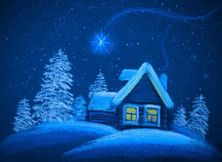 christmas night: a little cabin in the snowy Christmas night