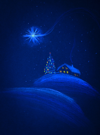 snowcovered: snow-covered house and Merry Christmas
