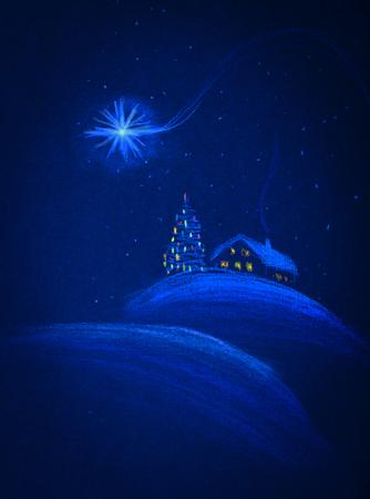 christmas house: snow-covered house and Merry Christmas