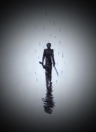 silhouet van een jonge man met een viool Stockfoto