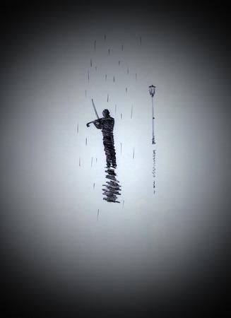fiddler: Fiddler on the street in the rain Stock Photo