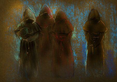 暗闇の中で 4 つの僧侶