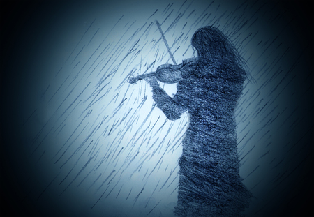 Girl with a violin in the rain Stock Photo