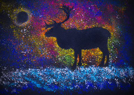 northern lights: lone deer and northern lights Stock Photo