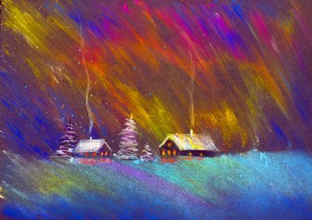 북부 조명과 크리스마스 밤 스톡 콘텐츠