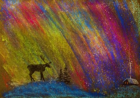 snowscape: northern lights and a lone deer Stock Photo