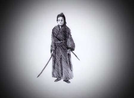 panoply: lone samurai with two swords Stock Photo