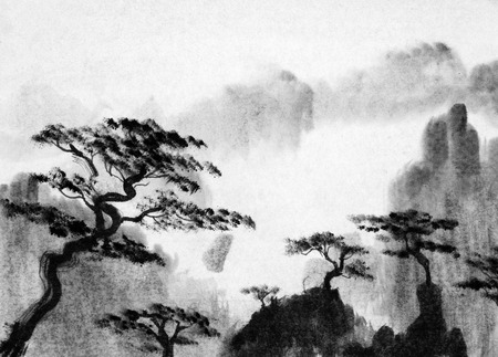 china art: pine trees and mountains