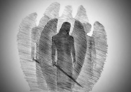 Quatre anges avec une épée Banque d'images - 49608835