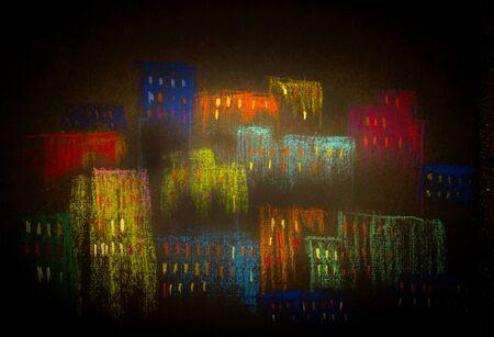 moon  metropolis: colorful and vibrant city at dusk Stock Photo