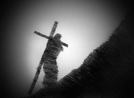 easter morning: man carrying the cross up the hill