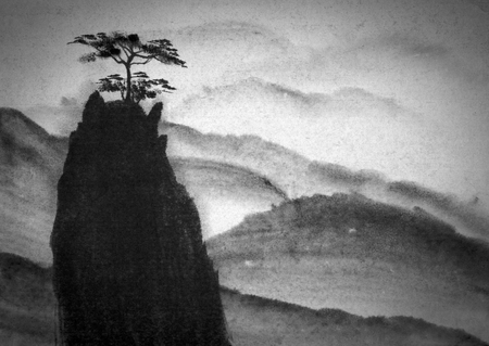 grandeur: Mountain and lonely pine on top of it