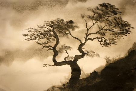 산의 가장자리에 소나무를 감는