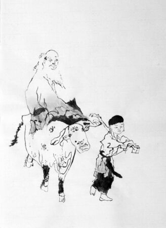 limp: Chinese monk on a bull and a boy Stock Photo
